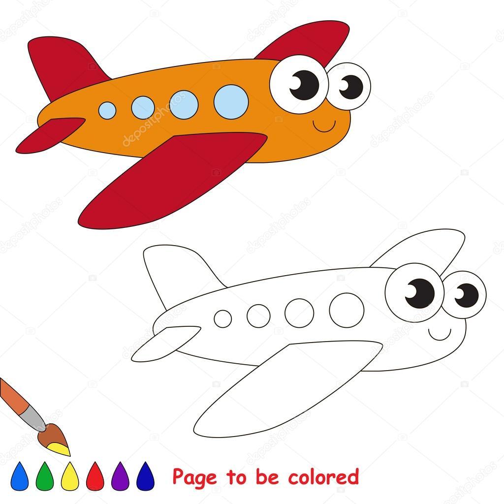 Dibujos animados de avión rojo. Página para colorear — Vector de ...