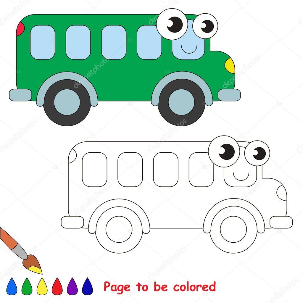 Dibujos animados de autobús verde. Página para colorear — Archivo ...