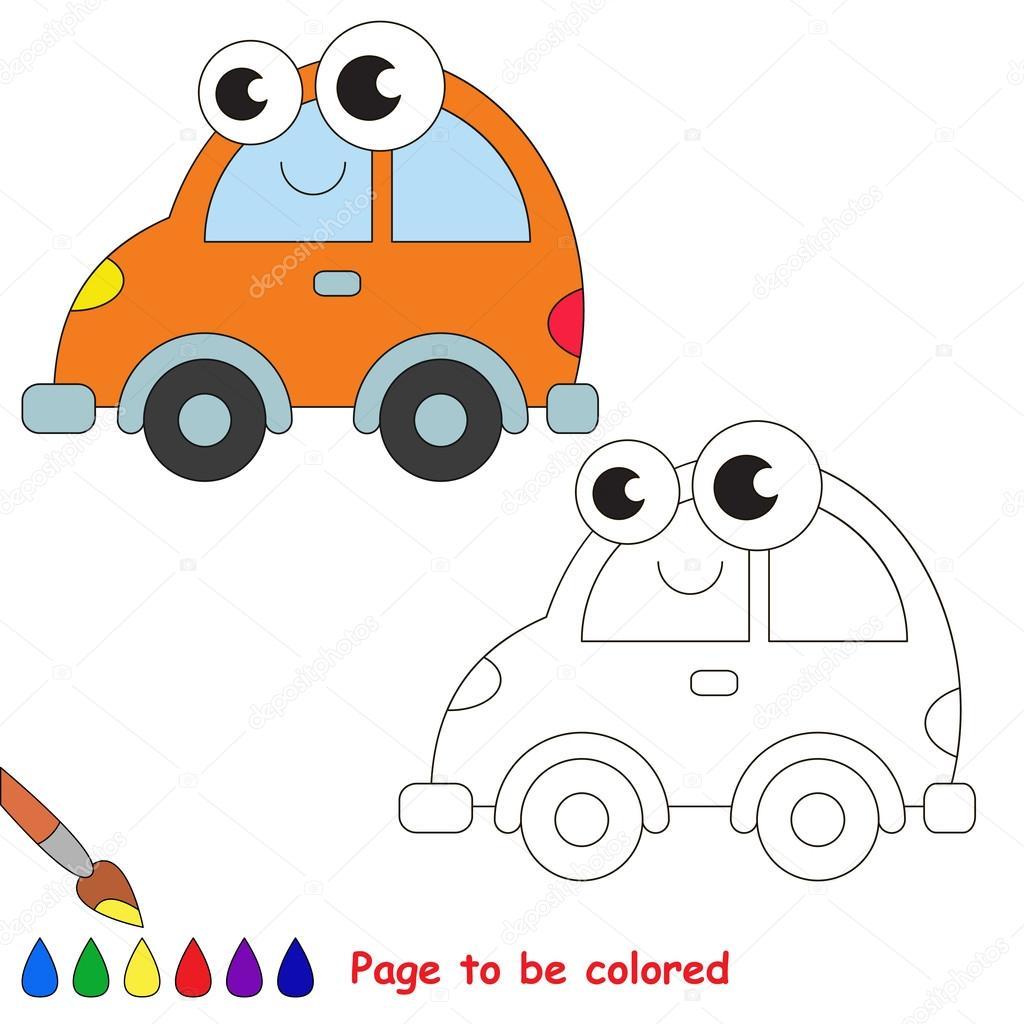 Turuncu Araba Karikatür Renkli Sayfa Stok Vektör