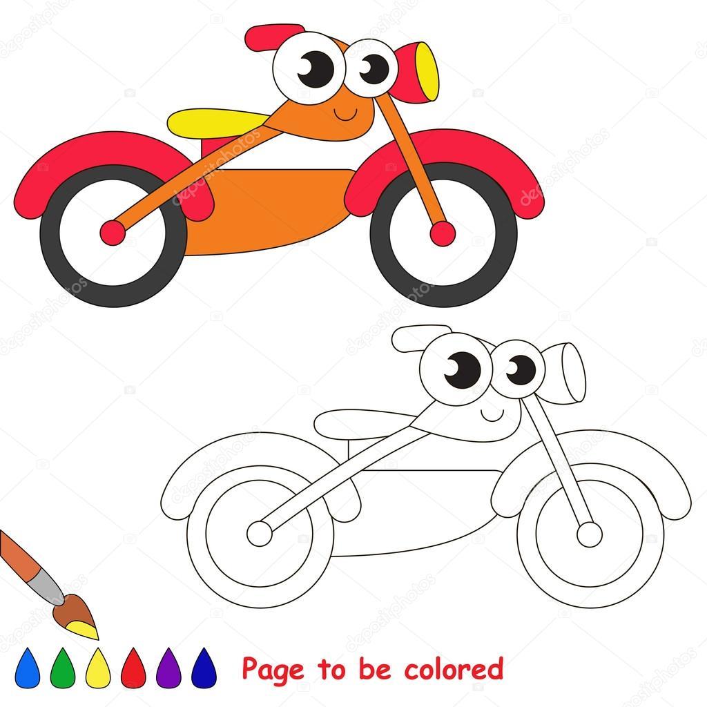 Dibujos animados de la moto naranja. Página para colorear — Archivo ...