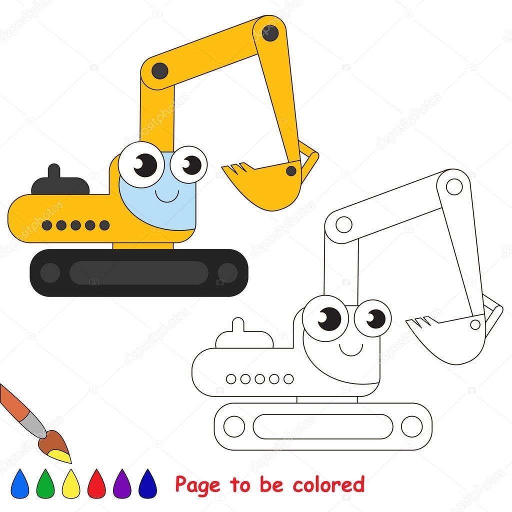 Dibujos animados de la excavadora amarilla. Página para colorear ...
