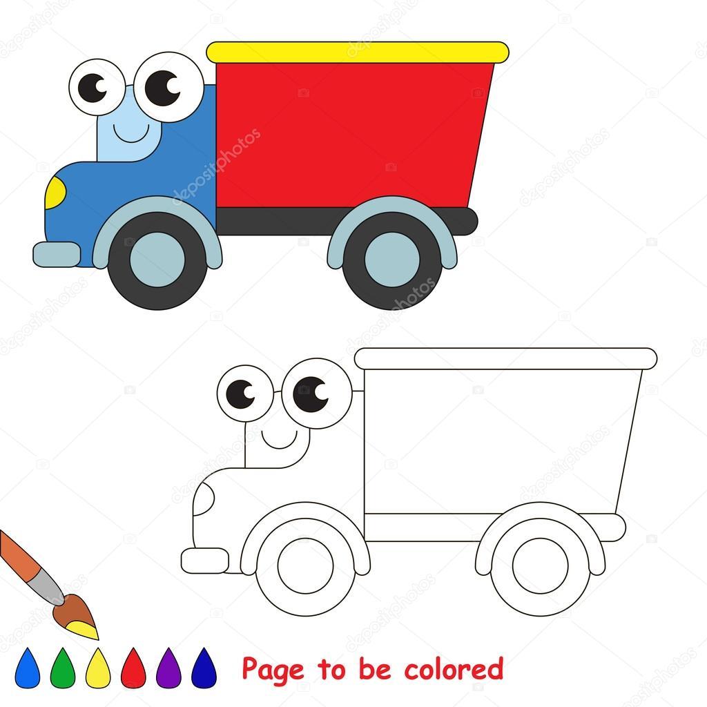 Historieta del camión rojo. Página para colorear — Vector de stock ...