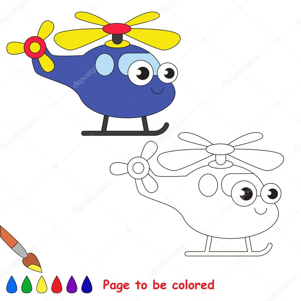 Mavi Helikopter Karikatür Renkli Sayfa Stok Vektör