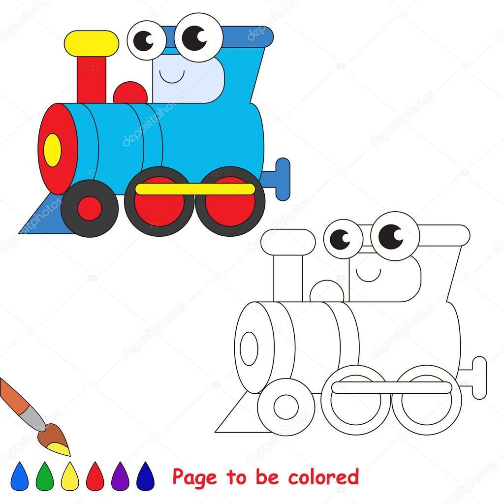 Dibujos animados locomotora azul. Página para colorear — Archivo ...
