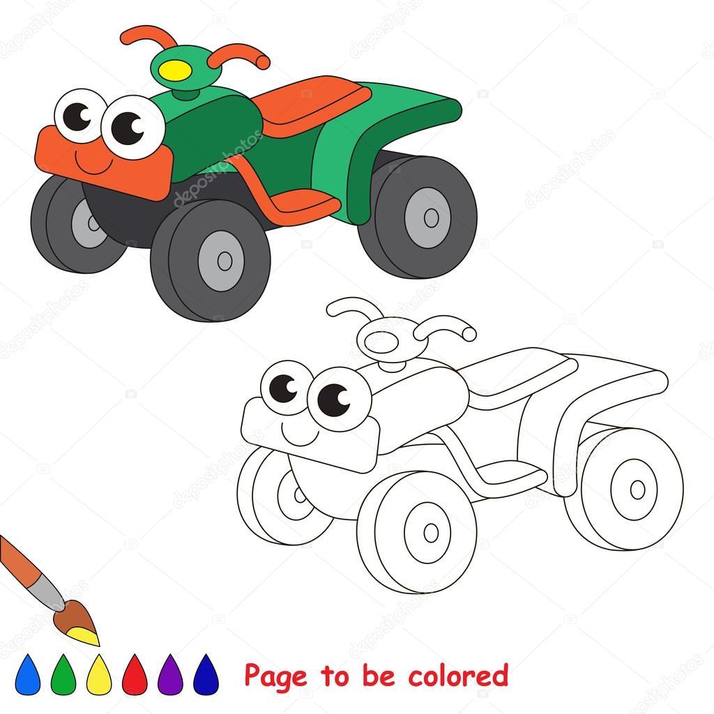 Dibujos animados de la bici del patio verde. Página para colorear ...