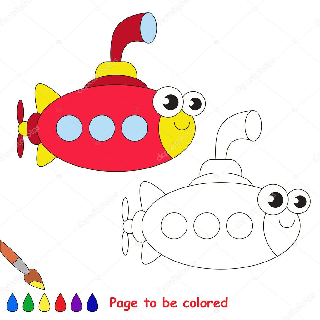 Dibujos animados submarino rojo. Página para colorear — Vector de ...