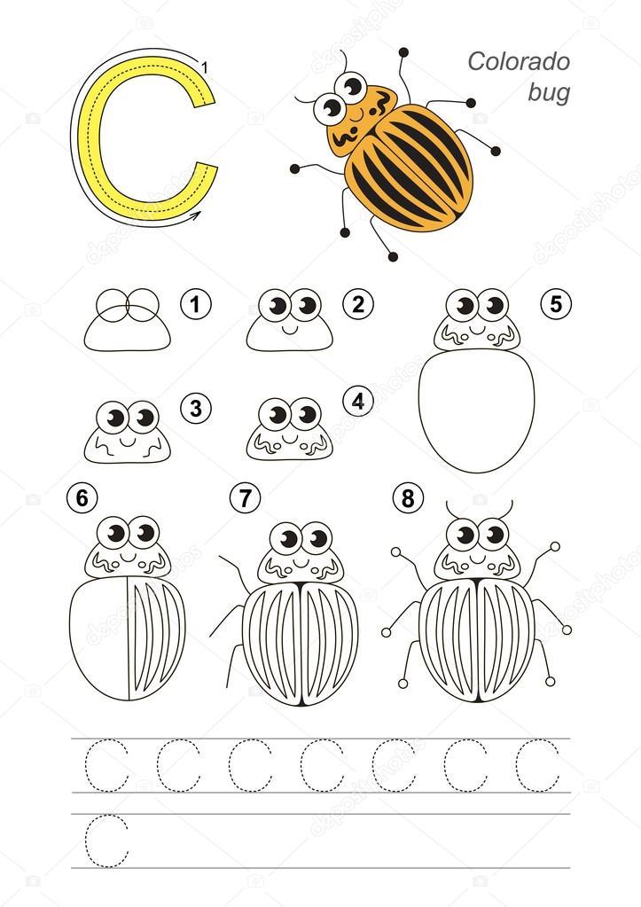 Tutorial de dibujo. Juego de carta C. Escarabajo de patata de ...