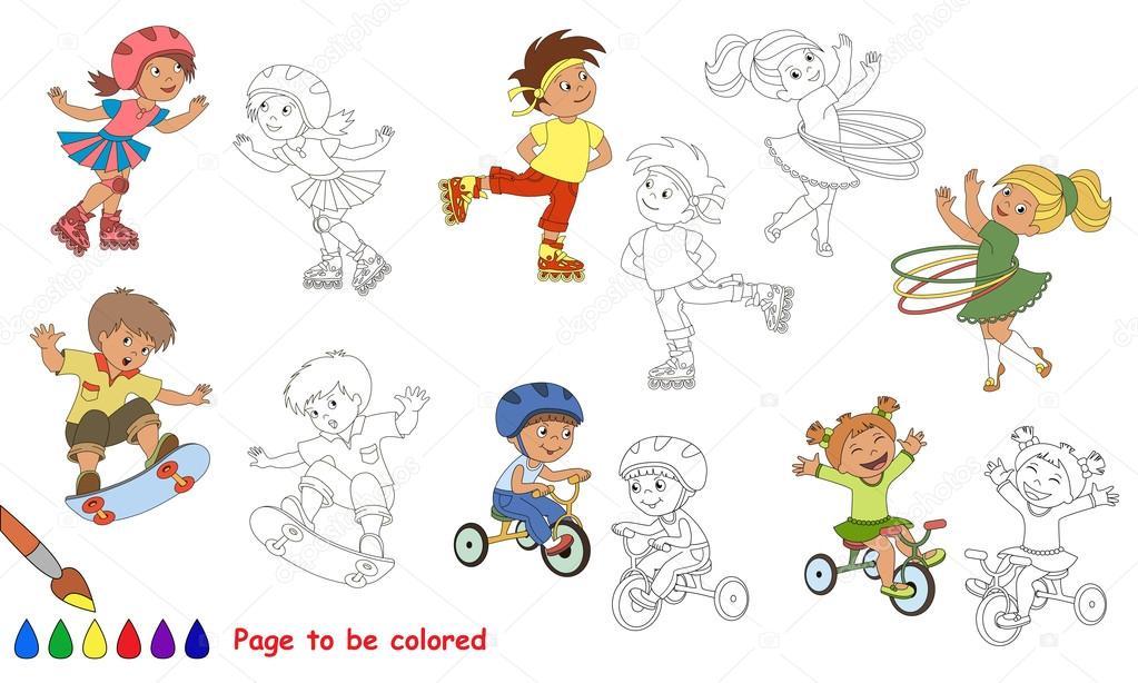 Verano niño deportes dibujos animados. Página para colorear ...