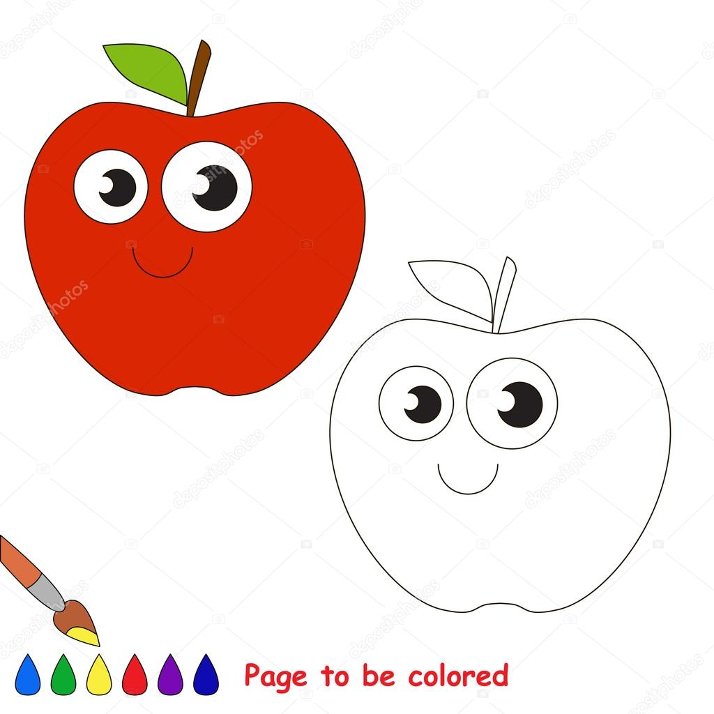 apple cartoon page to be colored ストックベクター