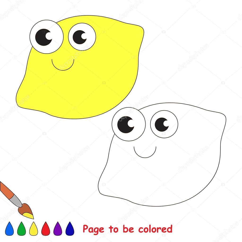 Bir Limon Karikatür Renkli Sayfa Stok Vektör Annamikhailova