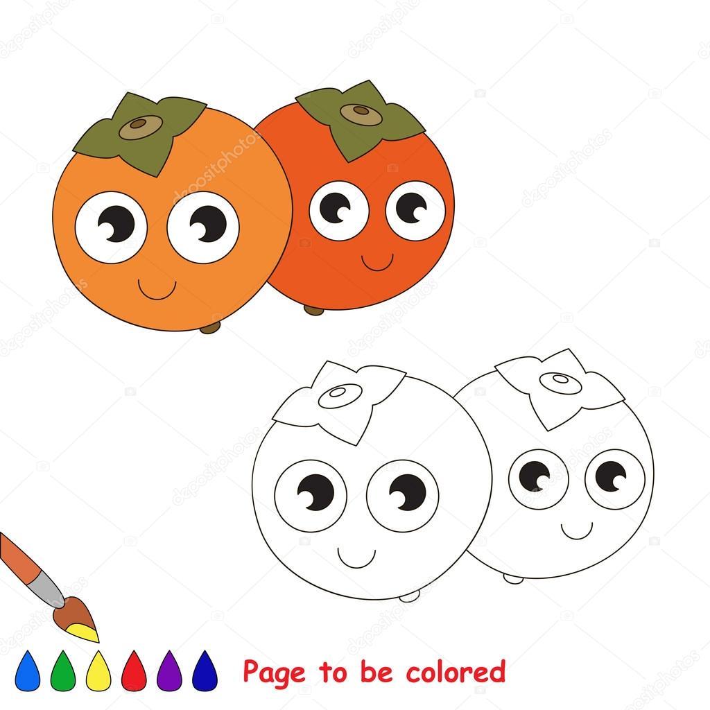 Dibujos animados de caqui. Página para colorear — Archivo Imágenes ...