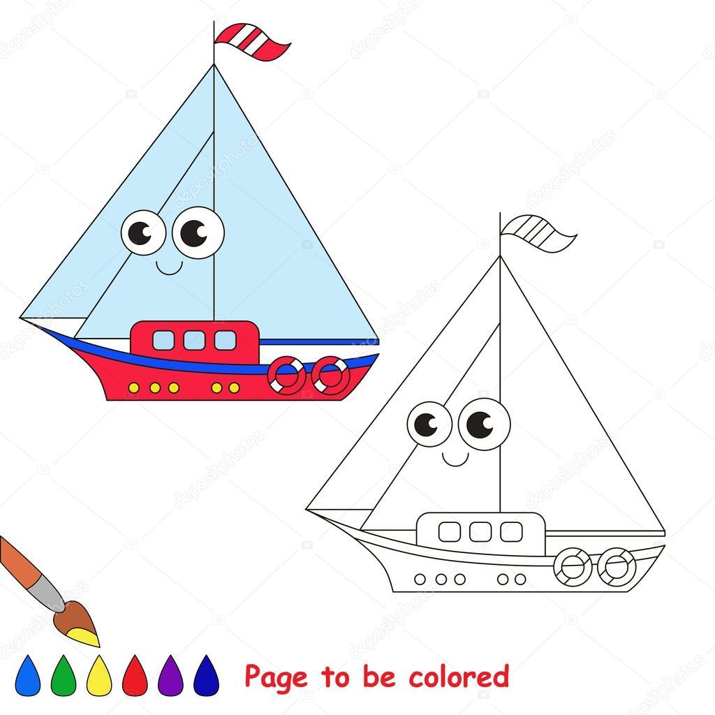 Fumetto Di Barca Pagina Da Colorare Vettoriali Stock