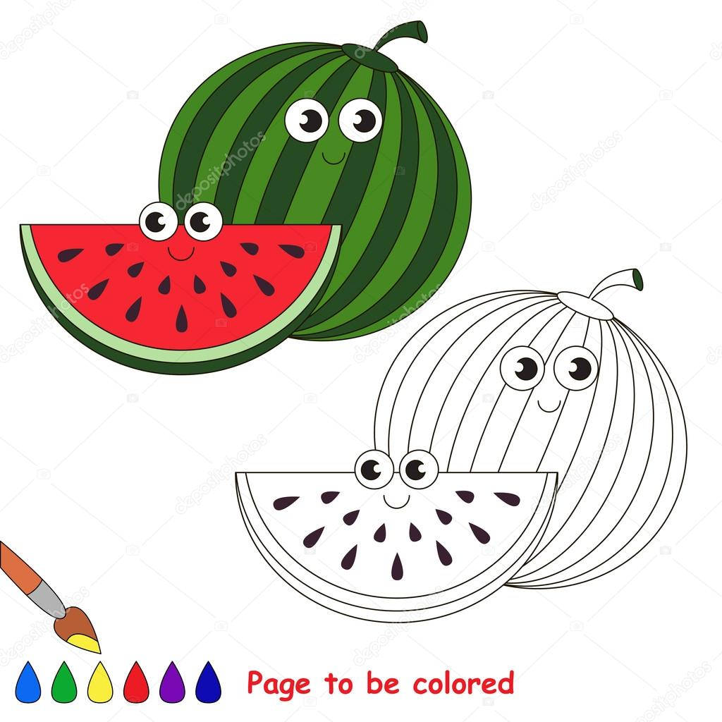 Sweet watermelon cartoon. Page to be colored. — Stock Vector ...