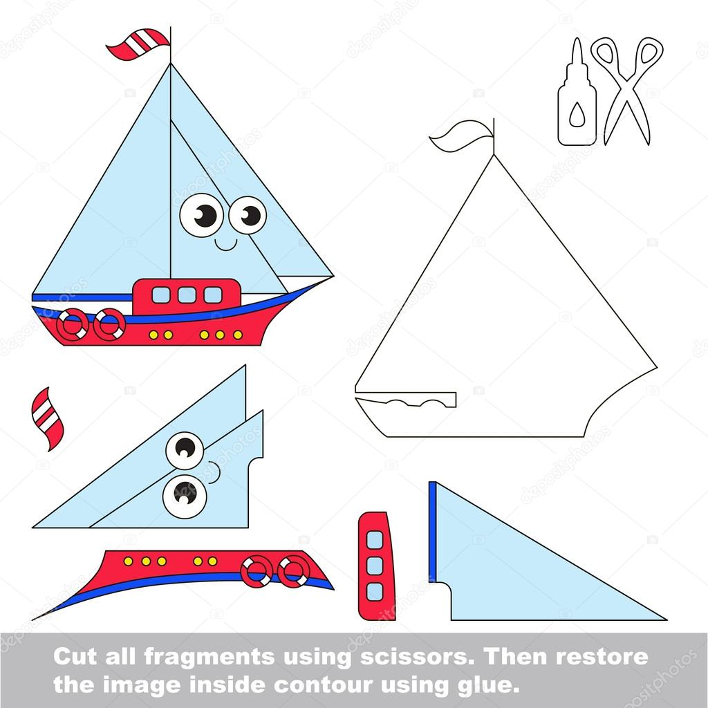 juego de nios de papel fcil aplicacin para nios con barco u vector de stock