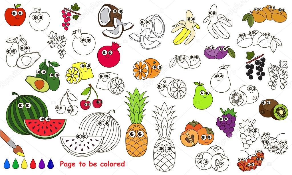 Frutas divertidas para colorear | Divertido punto de cuajado en la ...