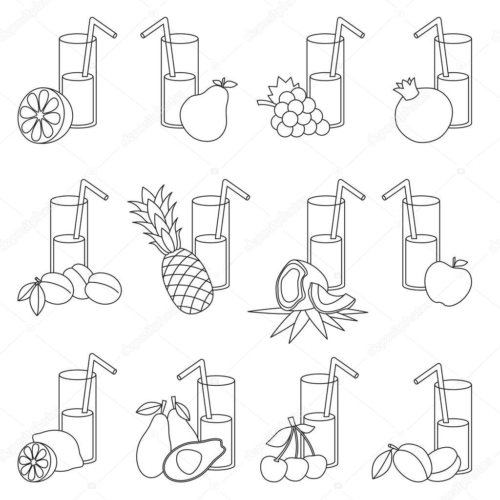 Conjunto de dibujos animados de zumos de fruta. Página para colorear ...