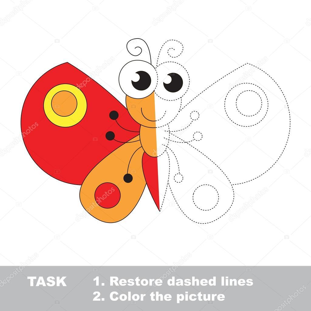 Mariposa para colorear. Juego de rastreo Vector — Vector de stock ...