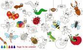 Beállítása, rovarok vicces rajzfilm. Színes oldal