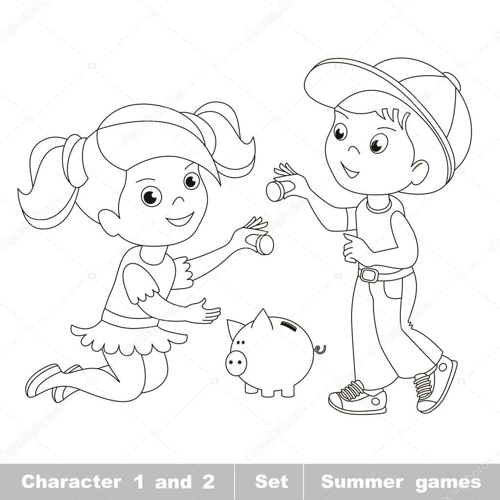 Animado Bebe Niña Para Colorear Niño Y Niña Jugar Con