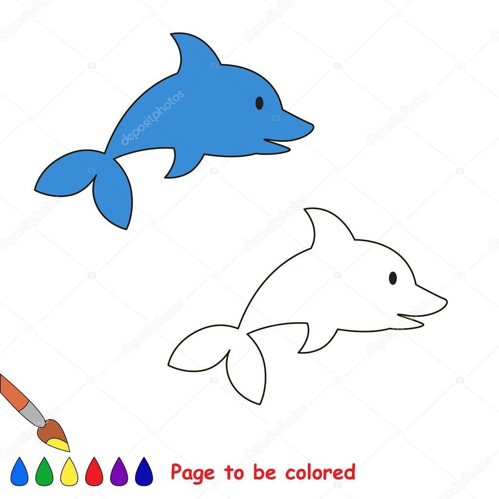 Delfines dibujos animados para colorear — Vector de stock ...