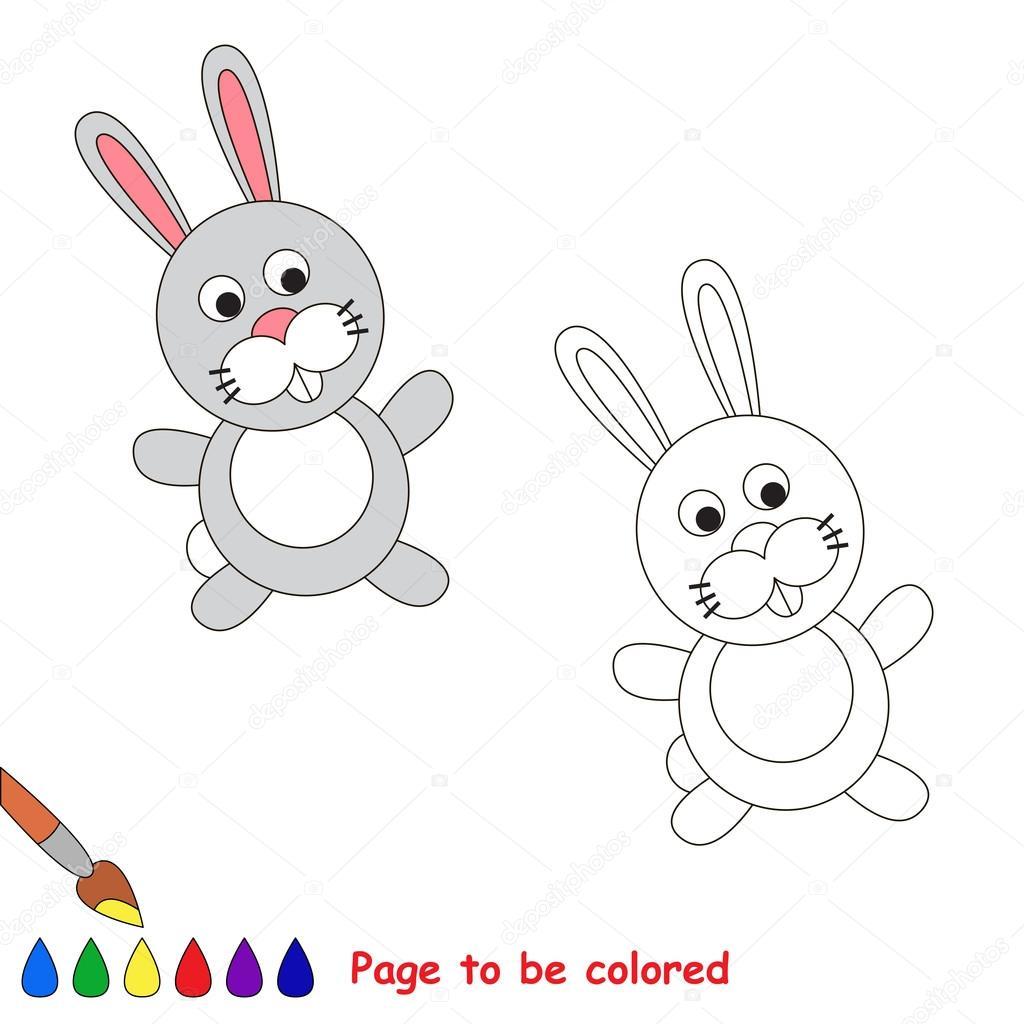 Dibujos animados conejo gris para colorear — Archivo Imágenes ...