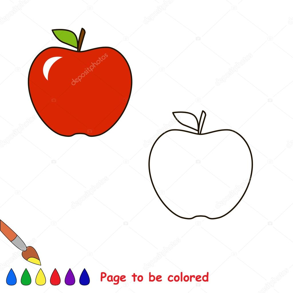 Manzana de dibujos animados para colorear — Vector de stock ...