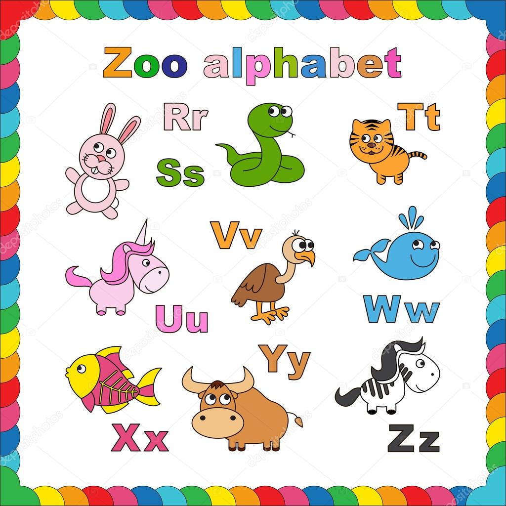 Esquema abecedario zoológico para colorear — Archivo Imágenes ...