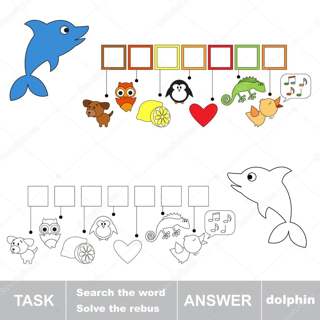 Lösen Sie die Rebus. Finde versteckte Wort Delfin — Stockvektor ...