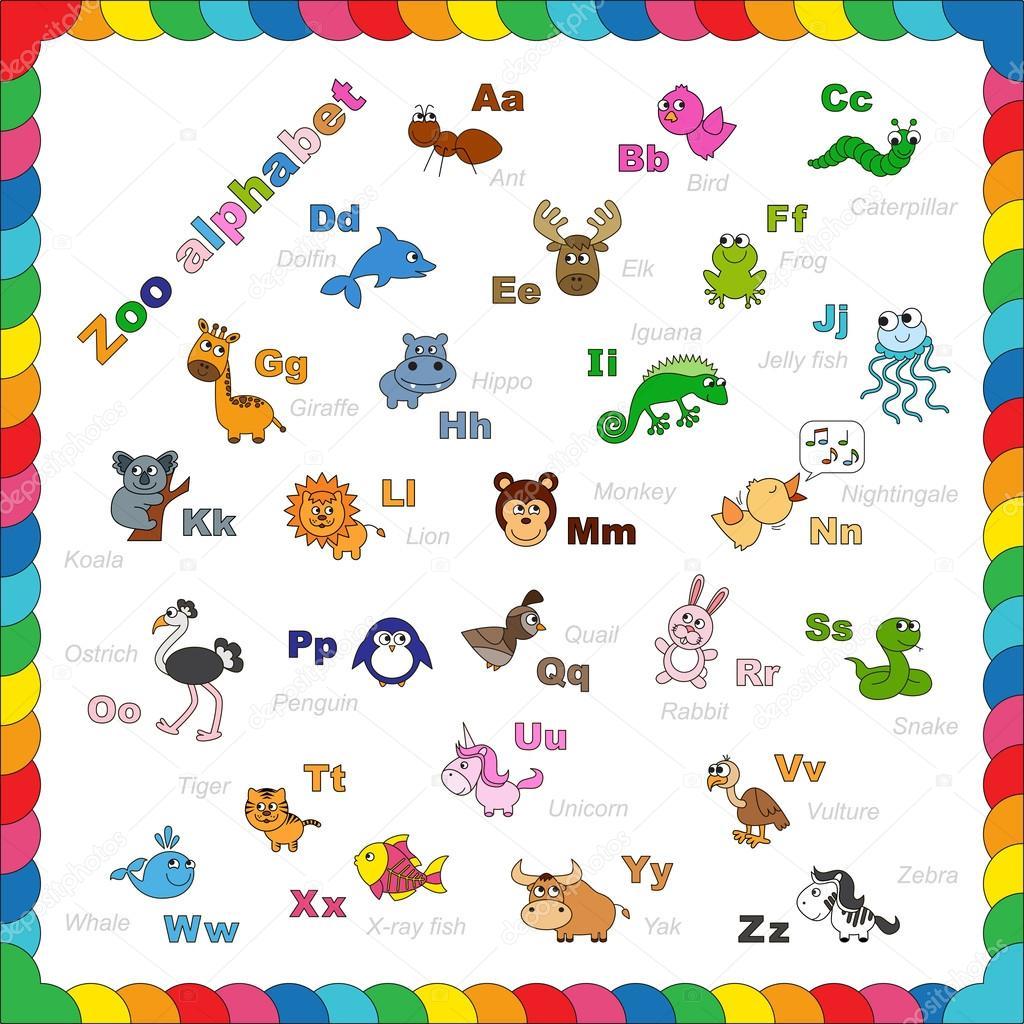 Esquema abecedario zoológico para colorear — Vector de stock ...