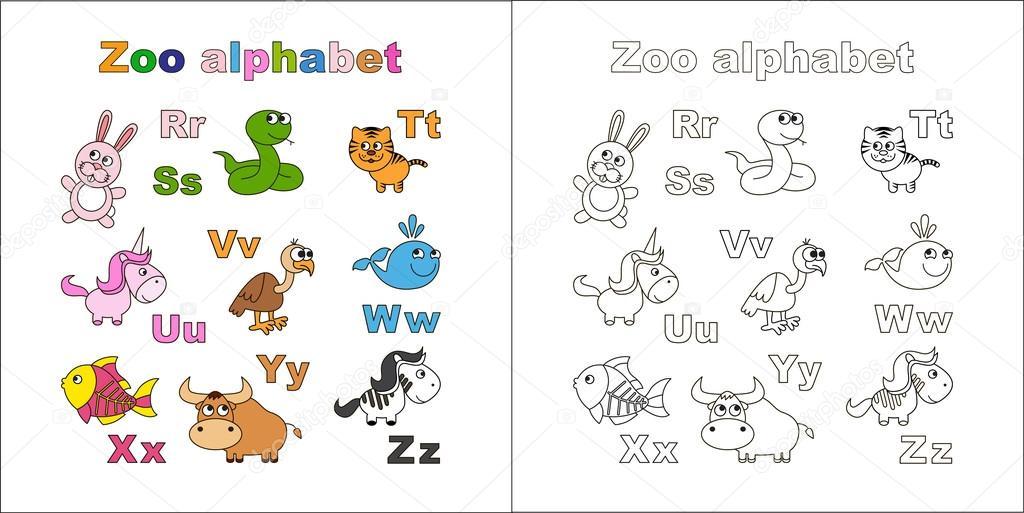 Esquema abecedario del zoo para colorear. Letras. Aprender a leer ...