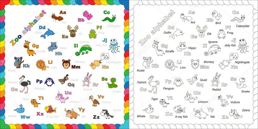 Zoológico De Animais Bebê Dos Desenhos Animados Vetor: Dos Desenhos Animados Do Alfabeto Inglês Zoo Animal