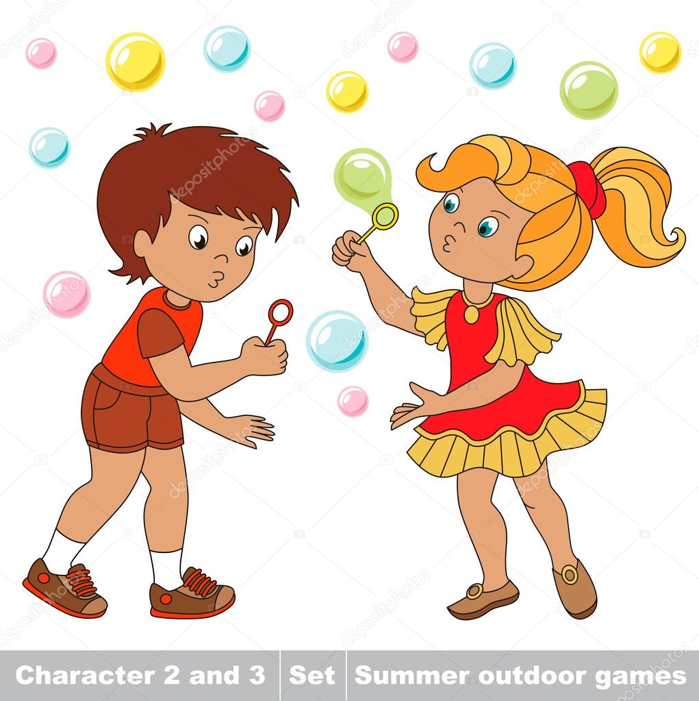 55eec6232 Small baby boy and girl friend playing in the yard inflate soap bubbles.  Bubbles fly the two children have fun. Cartoon character playing baby.  Summer ...