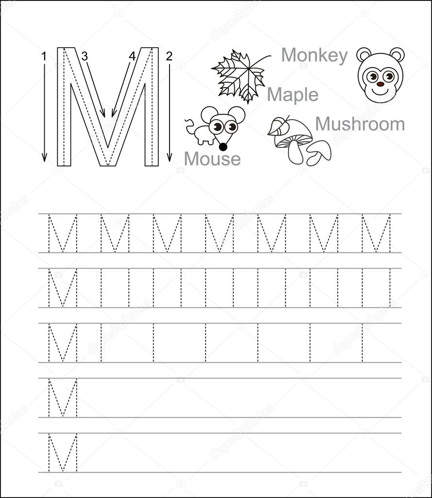 Letter m learn handwriting stock vector annamikhailova 84591380 vector exercise illustrated alphabet learn handwriting tracing worksheet for letter m page to be colored vector by annamikhailova spiritdancerdesigns Image collections