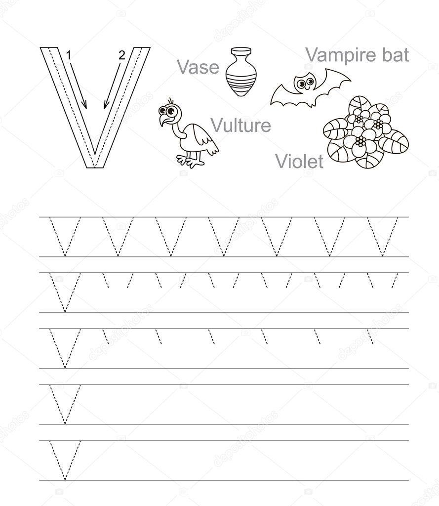 Letra W. aprender cursivo — Vector de stock © Anna_Mikhailova #84593630