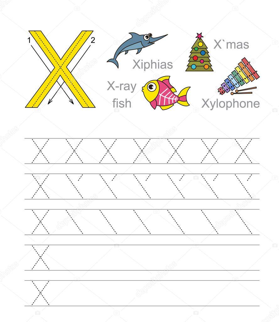 Letter X Learn Handwriting Stock Vector Annamikhailova 84594344