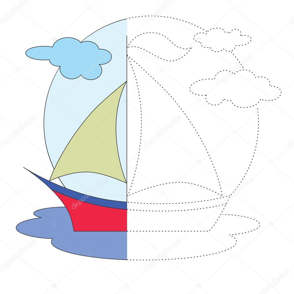 Remontar el juego. Alquiler de barcos para colorear — Archivo ...