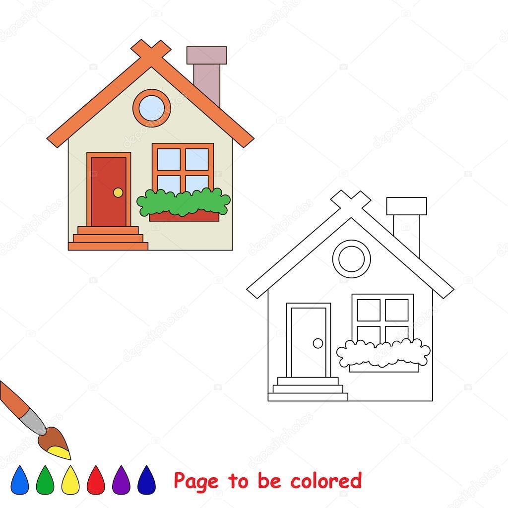 Vector Casa De Dibujos Animados Para Colorear Archivo Imágenes