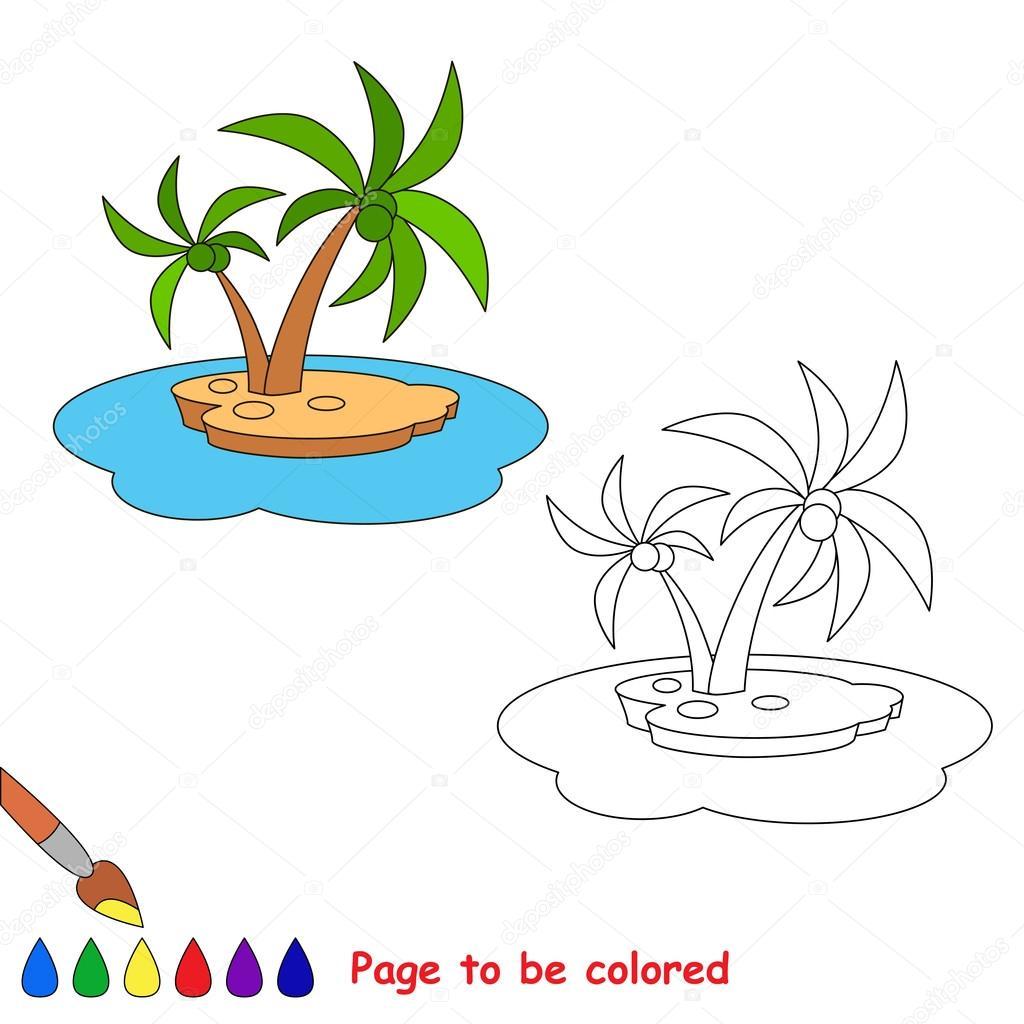Isla de dibujos animados de vector para colorear — Vector de stock ...