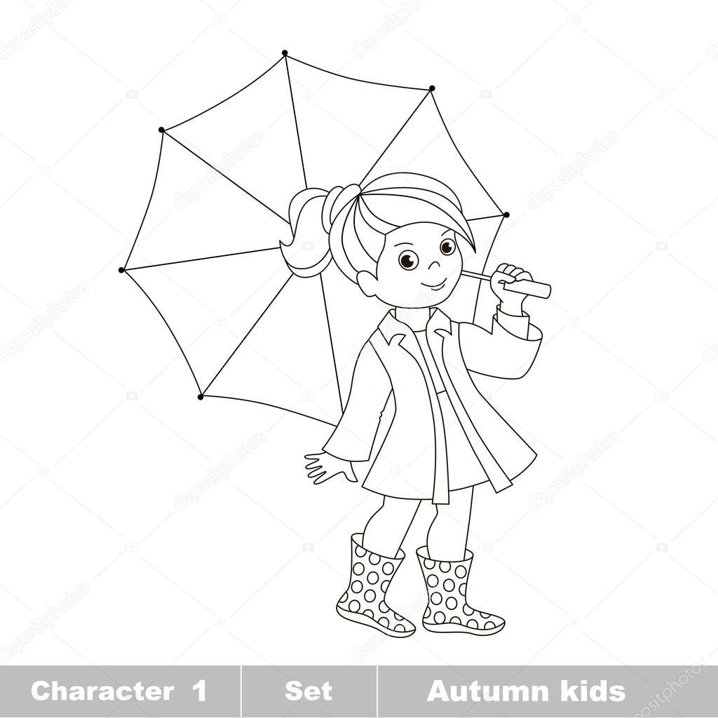 Chica otoño vector con paraguas para colorear — Archivo Imágenes ...
