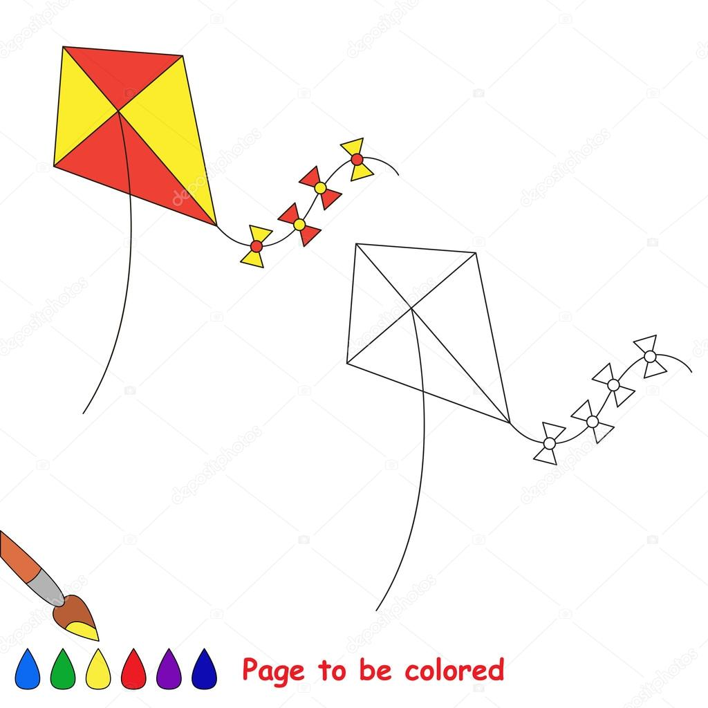 Cometa de juguete de dibujos animados de vector para colorear ...