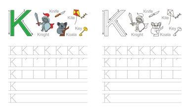 Tracing worksheet for letter K