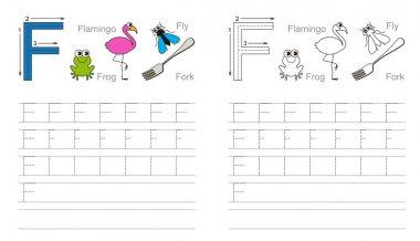 Tracing worksheet for letter F