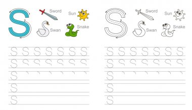 Tracing worksheet for letter S