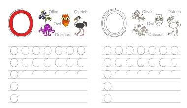 Tracing worksheet for letter O