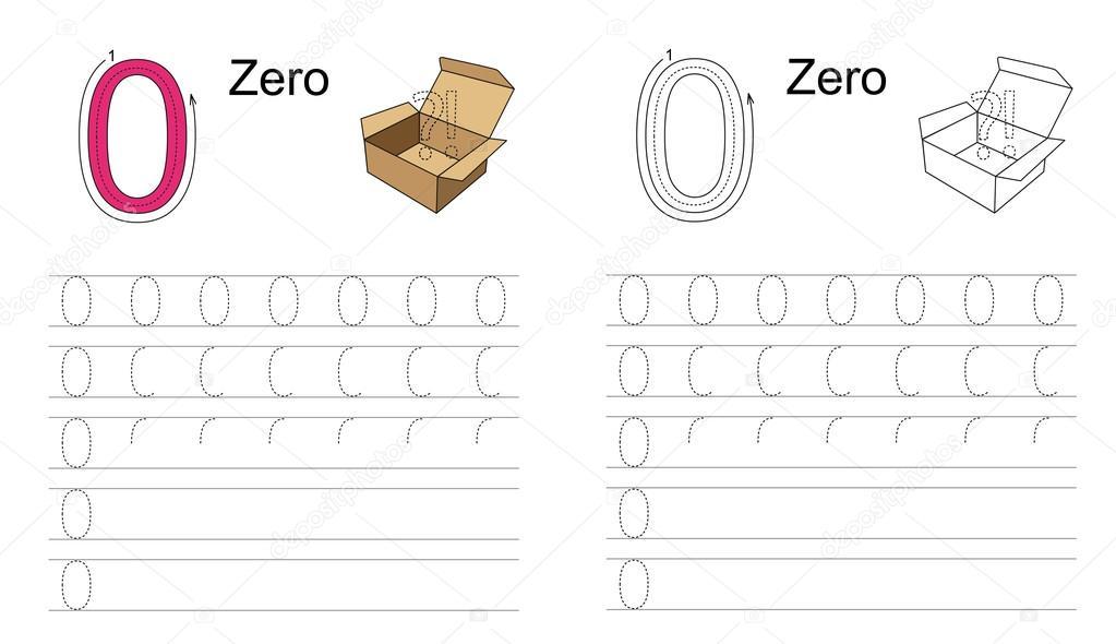 Abbildung 0 (null). 0 (null). Lernen Sie Handschrift — Stockvektor ...