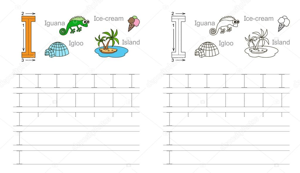 Tracing Worksheet For Letter I Stock Vector C Anna Mikhailova