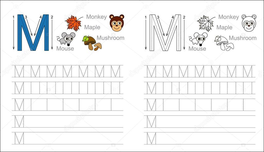 Arbeitsblatt für den Buchstaben M Ablaufverfolgung — Stockvektor ...