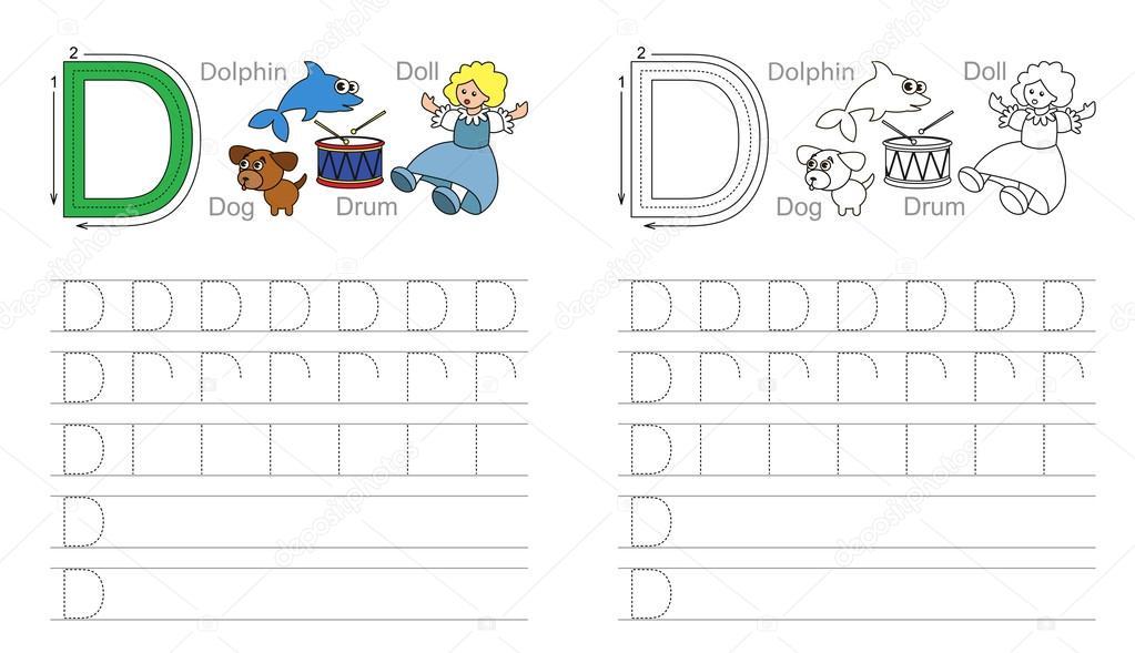 Arbeitsblatt für den Buchstaben D Ablaufverfolgung — Stockvektor ...