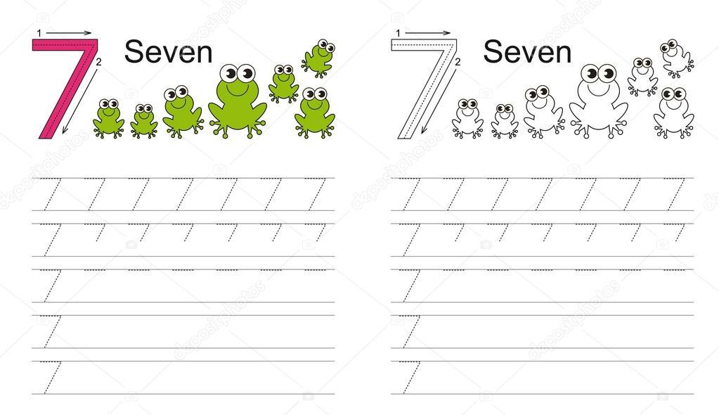 Arbeitsblatt für die Zahl sieben Ablaufverfolgung — Stockvektor ...