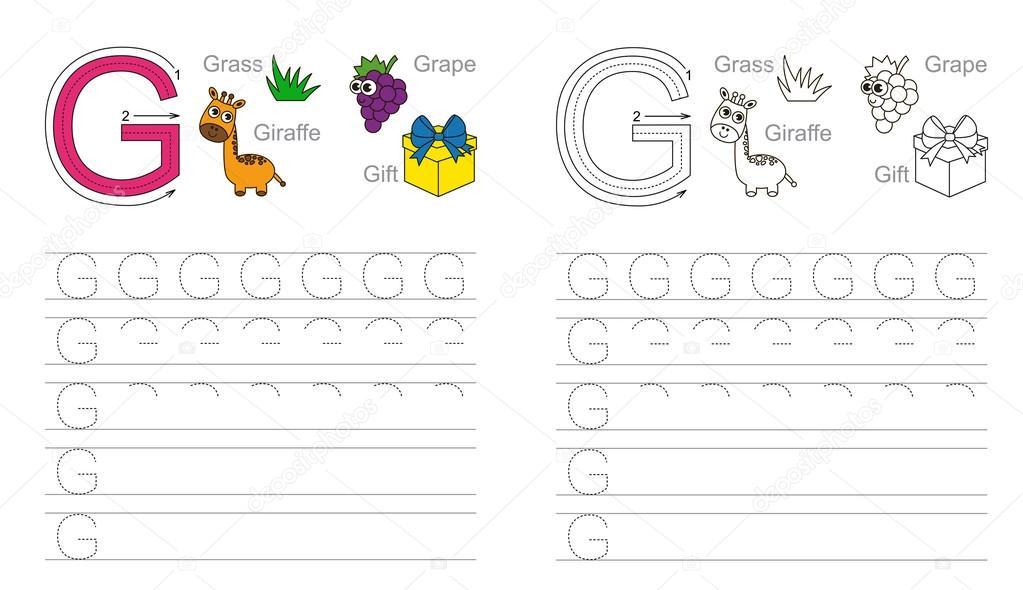 Trazar la hoja de cálculo para la letra G — Vector de stock ...